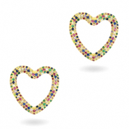 Zirconia rainbow heart connector Gold