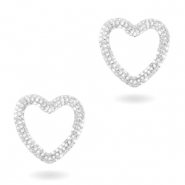 Zirconia heart connector Silver