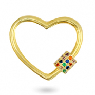 Zirconia rainbow clasp heart Gold