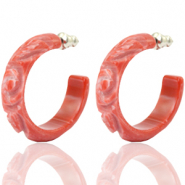 Earrings Creole Polaris Elements flower cut 30mm Coral Red
