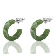 Earrings Creole Polaris Elements engraved 18mm Dusty Olive