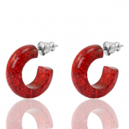 Earrings Creole Polaris Elements glitter 18mm Siam Red