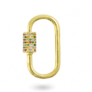 Zirconia rainbow clasp oval Gold