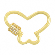 DQ European metal findings clasp zirconia butterfly Gold (nickel free)