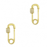 DQ European metal findings clasp zirconia safety pin Gold (nickel free)