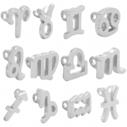 DQ European metal charms connector zodiac sign Antique Silver (nickel free)