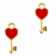 DQ European metal charms key Gold-Red (nickel free)