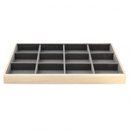 Jewellery display 12 compartments Natural-Anthracite