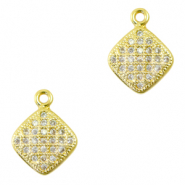Zirconia charm square Gold