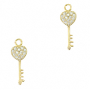 Zirconia charm key Gold
