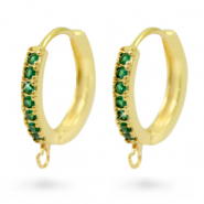 Zirconia creole earrings with loop Gold-Green