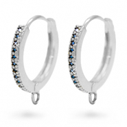 Zirconia creole earrings with loop Silver-Blue