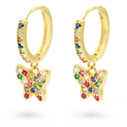 Zirconia rainbow creole earrings with butterfly Gold