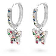Zirconia rainbow creole earrings with butterfly Silver
