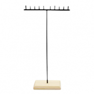 Jewellery display T-Shape for necklaces with wooden standard Natural-Black