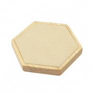 Jewellery display hexagon wood with faux suede for various jewellery Natural-Beige
