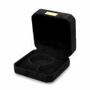 Jewellery box square faux suede for bracelets Black