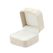 Jewellery box square faux suede for rings Beige