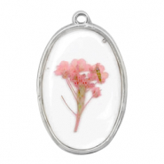 Charms with dried flowers oval Silver-Pink