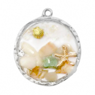 Charms with shell and pebbles Silver-Multicolour