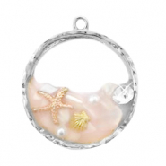 Charms with shell and pearl Silver-Pink