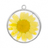 Charms with dried flowers Silver-Yellow