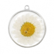 Charms with dried flowers Silver-White