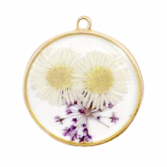 Charms with dried flowers Gold-White Purple