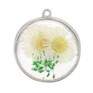 Charms with dried flowers Silver-White Green