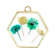 Charms with dried flowers hexagon Gold-Green Yellow