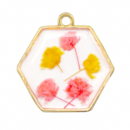 Charms with dried flowers hexagon Gold-Pink Yellow