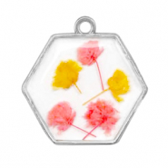Charms with dried flowers hexagon Silver-Pink Yellow