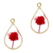 Charms with dried flowers drop Gold-Red
