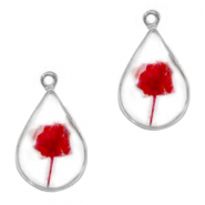 Charms with dried flowers drop Silver-Red