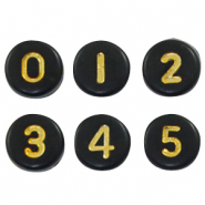 Acrylic letter beads mix numbers Black-Gold