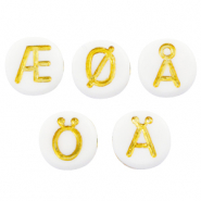 Acrylic letter beads mix diacritical marks White-Gold