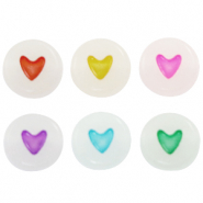 Acrylic letter beads hearts glow-in-the-dark Off White-Multicolour