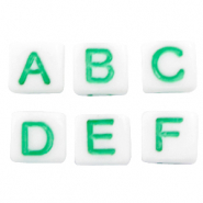 Acrylic letter beads mix White-Green