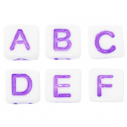 Acrylic letter beads mix White-Purple