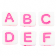 Acrylic letter beads mix White-Pink