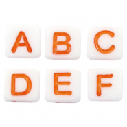 Acrylic letter beads mix White-Orange