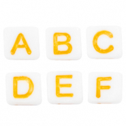Acrylic letter beads mix White-Yellow