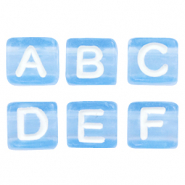 Acrylic letter beads mix Blue-White
