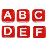 Acrylic letter beads mix Red-White