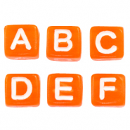 Acrylic letter beads mix Orange-White