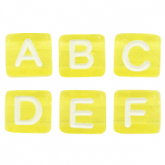 Acrylic letter beads mix Yellow-White