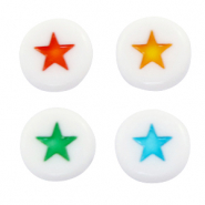 Acrylic letter beads star White-Multicolour