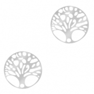 Stainless steel charms/connector tree of life Silver