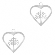 Stainless steel charms heart with tree of life Silver