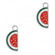 Metal charms watermelon Silver-Red